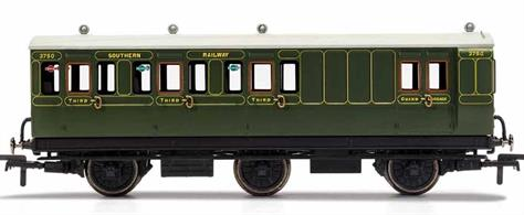 This six wheeled coach is a representation of the many which served on the Southern Railway (SR) having been inherited from its predecessors such as the London & South West Railway (LSWR) and the South Eastern and Chatham Railway (SECR) Small coaches such as this six wheeled coach proved especially good at branch line work where their small size enabled the traversing of tight radius curves, whilst lower passenger numbers meant their small size was more acceptable and enabled trains to be hauled by smaller engines.This SR coach is modelled as having step boards to enable access at stations with low platforms and electric lighting.
