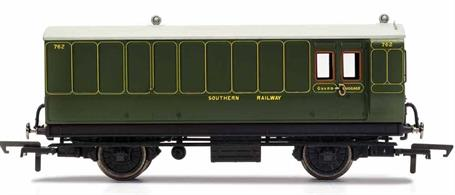 This four wheeled coach is a representation of the many which served on the Southern Railway (SR) having been inherited from its predecessors such as the London & South West Railway (LSWR) and the South Eastern and Chatham Railway (SECR) Small coaches such as this four wheeled coach proved especially good at branch line work where their small size enabled the traversing of tight radius curves, whilst lower passenger numbers meant their small size was more acceptable and enabled trains to be hauled by smaller engines.This SR coach is modelled as having step boards to enable access at stations with low platforms and electric lighting.