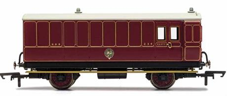 This four wheeled coach is a representation of the many which served on the North British Railway (NBR) in the late 19th and early 20th century. Four wheeled coaches proved especially good at branch line work where their small size enabled the traversing of tight radius curves, whilst lower passenger numbers meant their small size was more acceptable and enabled trains to be hauled by smaller engines.This NBR coach is modelled as having step boards to enable access at stations with low platforms and gas lamp lighting.