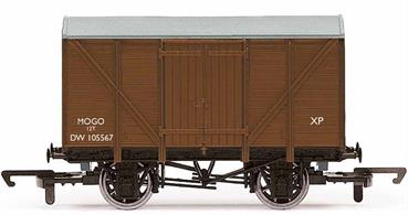 'Mogo' vans were railway vans built by Great Western Railway (GWR) in order to transport motor vehicles. Each van could only take a single vehicle which was loaded by driving through doors in the end of the van. The van additionally featured side doors so that it could be used to transport normal goods if not needed as a motor transporter. 350 wagons were built by GWR with the first appearing in 1933.