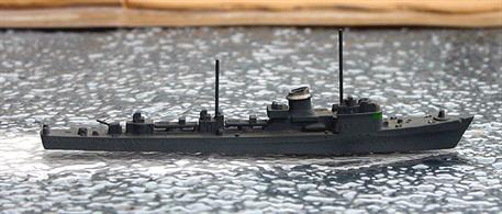 A 1/1250 scale second-hand model of a German torpedo boat of type 1-12 during WW2 by Hansa S79. The model is in very good overall condition, see photograph.