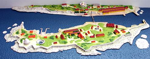 A 1/1250 scale polyurethane resin model of Christianso Harbour by Coastlines Models CL-HMA11wl. This is a waterline model of the land surrounding the harbour in the Ertholomene Archipelago.The model is 52cm x 27cm
