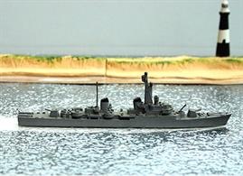 A 1/1250 scale second-hand model of Indomito, an Italian destroyer of 1958 by Hansa S58. The model is in matt medium grey which has become shiny by handling either side of the bow, see photograph.