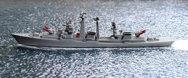 A 1/1250 scale second-hand model of a Kashin-class destroyer by Delphin D25. This model is in very good condition, see photograph