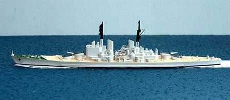 A 1/1200 scale resin waterline model of HMS Vanguard handmade by the maker, one of only 4 models made to replace Triang/Hornby models, see photograph.
