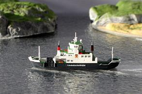 A 1/1250 scale waterline model of Coruisk a Calmac ferry made in metal and fully painted by Rhenania Junior Miniaturen RJ256.