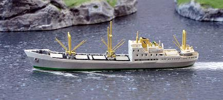 A 1/1250 scale metal model of Bohemund a Fred Olsen freighter of the 1950s used between Europe and Africa and South America in the 1950s by Solent Models SOM22