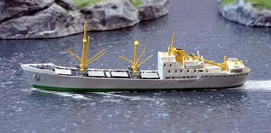 A 1/1250 scale waterline metal model of Bayard a Fred Olsen freighter from 1953 onwards by Solent Models SOM22a.