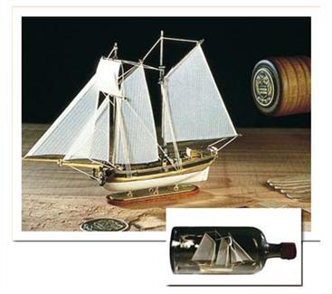 Amati 1/300 US Schooner Hannah 1775 Ship-in-bottle 1355The ship-in-a-bottle conundrum never ceases to amaze. Just how do you get a ship, twice the size of the bottle-neck into the bottle? Now's your chance to test out the techniquefor yourself, and the clear instructions will guide you through the mystery. The Hannah model is highly detailed for it's size, and is certainly a unique subject.This Ship in a bottle kit includes precut keel, frames; wooden strips for planking; wooden and metal accessories and fittings; bottle,�colour printed decorations and windows; masts, spars, rigging rope; cloth sails; instructions and plans.Scale 1/300�- Total length: 130mm.Skill Level 3