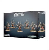 The set includes 5 multipart plastic Chaos Terminators, each of which can be equipped with a variety of melee and ranged weapons.
