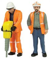 Bachmann 47-401 0 Gauge Pack of 2 track or road workers in hi-visibility clothing.