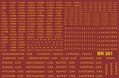 Modelmaster Decals MMBR201 00 Gauge British Railways 1948-1965 Coach Lettering and NumbersComprehensive sheet of B.R. 1948-1965 Coaching Stock. Numbers, names, door markings, etc. Enough for seventy coaches. B.R. Gill Sans Typeface, Yellow.
