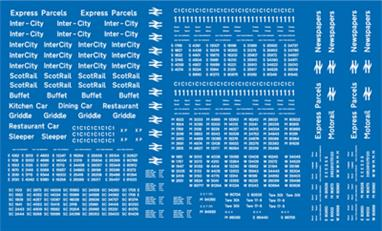 Modelmaster Decals MMBR202 00 Gauge BR Post-1964 Coaching Stock Lettering & Numbers WhiteComprehensive sheet of B.R. post 1964 Coaching Stock. Numbers, names, door markings, etc. Enough for seventy coaches. B.R. Transport Typeface, White.