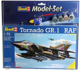 Revell 1/72 Tornado GR MkI RAF Model Set 64619Length 243mm Number of Parts 198 Wingspan 201mmComes with glue and paints to assemble and complete the model.