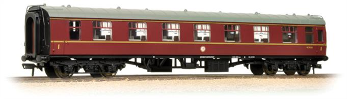 Bachmann Branchline 39-241 OO Gauge BR Mk1 FO First Open Maroon LiveryAn excellent model of the BR Mk.1 design first class open plan seating coach. Many of these coaches were built to provide seating coaches to operate with a kitchen car, while standard first class coaches retained seating compartments. As demand for full meal service declined in the 1960s these coaches were redeployed as general service first class coaches. Businessmen found the tables useful to get some work done while travelling, leading to an increasing acceptance of the open plan seating arrangement for first class accomodation. Era 5