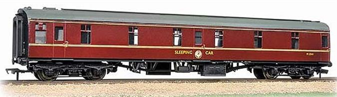 Bachmann Branchline 39-502 00 Gauge BR Mk.1 SLSTP Sleeper Coach Maroon LiveryNewly announced model of the BR Mk.1 sleeper car classified SLSTP, standing for Sleeper, Second class Twin berth with Pantry (attendant's office).These were the usual second class sleeping cars used on overnight sleeper trains, having twin (upper and lower) berths to accomodate two passengers in each compartment. A compartment was provided at one end of the attendant with facilities to supply tea, coffee etc. to the passengers.