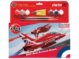 Airfix 1/72 RAF Red Arrows Hawk Starter Set A55202CNumber of Parts 59   Length 163mm   Width 130mm