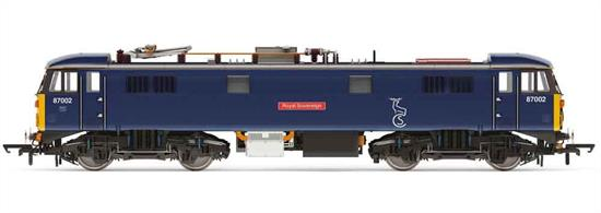BR class 87 electric locomotive 87002 is a preserved locomotive regularly used for hauling the empty stock for the Caledonian Sleeper and also available as a spot-hire and tour train locomotive. Hornby have modelled 87002 in current condition finished in BR blue livery with Caledonian Sleeper stag logos.Era 9 present day.