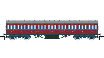Hornby R4657A OO Gauge LMS 57ft Suburban Non-Corridor 57ft Third Class Coach LMS Crimson LiveryDimensions - Length 242mm.A new model of the LMS standard 57-feet length non-corridor or suburban type coach, as used on suburban, stopping and branchline services. The third class coaches were among the most common types, forming the bulk of suburban and stopping trains, as fewer passengers feel the need for first class comfort on short journeys. Model finished in LMS crimson lake livery.Special Features: Handrails, Separate roof vents
