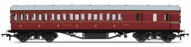 Hornby R4677B OO Gauge LMS 57ft Suburban Brake Third Class Coach LMS Crimson LiveryDimensions - Length 242mm.A new model of the LMS standard 57-feet length non-corridor or suburban type coach, as used on suburban, stopping and branchline services. Most coach 'sets' would be formed with one of these brake third coaches at each end, with composite and third class coaches between them to make up the seating capacity required. Two-coach sets would also be formed with one brake third and one composite coach and brake third coaches were also used singly on some short branchlines.Model finished in LMS crimson lake livery.Special Features: Handrails, Separate roof vents
