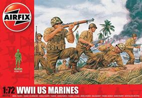 Airfix 1/72 US Marines WW2 Unpainted plastic Figures A01716Contains 46 parts the famous Leathernecks in action has a full complement of marines with bazookas, flame throwers etc as well as an inflated assault boat