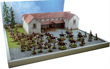 Italeri 1/72 Pax Romania Diorama & Wargame Set 6115 THE BOX CONTAINS: Roman Villa - MDF laser cut with etched details, Roman Infantry (36 figures), Roman Cavalry (16 figures), Celtic Warriors (42 figures), Celtic Cavalry (15 figures).