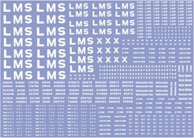 Modelmaster Decals MMLM301 00 Gauge LMS Wagon Lettering and Numbers Sheet 1923-1947 White