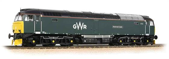 A superbly detailed model of locomotive 57603 Tintagel Castle painted in the latest GWR green livery. Bachmanns' model features a heavy die-cast chassis accommodating a centrally mounted motor and flywheel assembly for smooth running driving both bogies and all six axles. The bodyshell tooling was designed to incorporate the detail differences between different series of class 57 locomotives, the Great Western locos having four-section radiator grilles.Era 9. DCC Ready 21 pin decoder required for DCC operation.