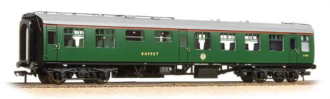 A very nice model of the Minature Buffet car. These coaches have a small buffet counter and food storage area near the centre, able to serve basic food and refreshments. Bachmann's model features the smooth riding commonwealth cast steel bogie and the extensive water supply piping on the roof. NEM pockets are used to permit tension-lock of bar type couplers to be fitted.This model is painted in the Southern regions' plain green livery, chosen to match the colours of the electric units used for most passenger services.