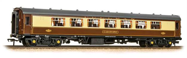 Detailed and well finished model of the popular and distinctive BR Mk.1 Pullman parlour second, complete with interior lighting. Painted in the classic Pullman umber and cream livery, the Pullman lettering and crests are all finely reproduced. Separate air brake fittings are supplied which can be added to portray these coaches in dual brake form as operated by SLOA on steam hauled railtours. Eras 5-8The interior lighting circuit is DCC compatible.