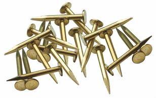 Large head brass track fixing pins. Suitable for most scales and gauges. Ideal for soldered track construction. Approx 500 pins in each pack.Note that these pins are too large for securing N and smaller gauge track by piercing a sleeper, please use SL14 track pins instead.