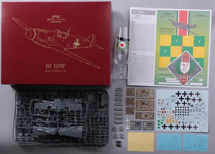 Royal Class edition of Bf 109F in 1/48 scale, F-2 and F-4 variants. Dual Combo. Special bonus: Eduard Friedrich Beer Glass (one of six designs)