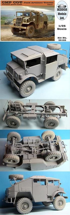Mirror Models 35122 1/35 Scale CMP CGT Field Artillery TractorThe kit features highly detailed suspension and underchassis including a winch and accurately replicated interior and engine. Clear plastic moulded side windows and curtains are included together with a photo etched detail sheet. Decals for 2 options are supplied together with 11 pages of nicely illustrated assembly instructions.Glue and paints are required to assemble and complete the figures (not included)