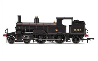 Hornby R3334 OO Gauge BR 30582 Adams Radial 4-4-2T BR Late CrestBritish Railways ex-LSWR/SR Adams Radial 4-4-2 Tank Engine BR Black Late Crest This model is painted in the later British Railways black livery with lion holding wheel crest.DCC Ready 8-pin decoder required for DCC operation.