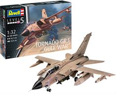 Revell 04705 is a 1/32nd scale plastic kit of a  RAF Tornado GR1 Ground attack aircraft as used in the Gulf WarNumber of Parts 280   Length 551mm   Wingspan 440mm