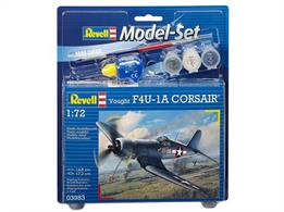 Revell F-4U-1A Corsair Model set 63983Length 148mm	Number of Parts 63		Wingspan 173mmComes with glue and paints to assemble and complete the model.