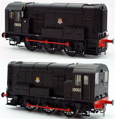 Dapol 7D-008-007 0 Gauge BR Class 08 0-6-0 Diesel Shunting Engine Black Livery 13003The first batches of BR 350bhp diesel shunters were delivered in the locomotive black livery of the steam era. This Dapol model of 08 13003 (later D3003) is finished in black livery with the early lion over wheel emblem, a good choice for mixed steam and diesel locomotive fleets in the early 1950s.