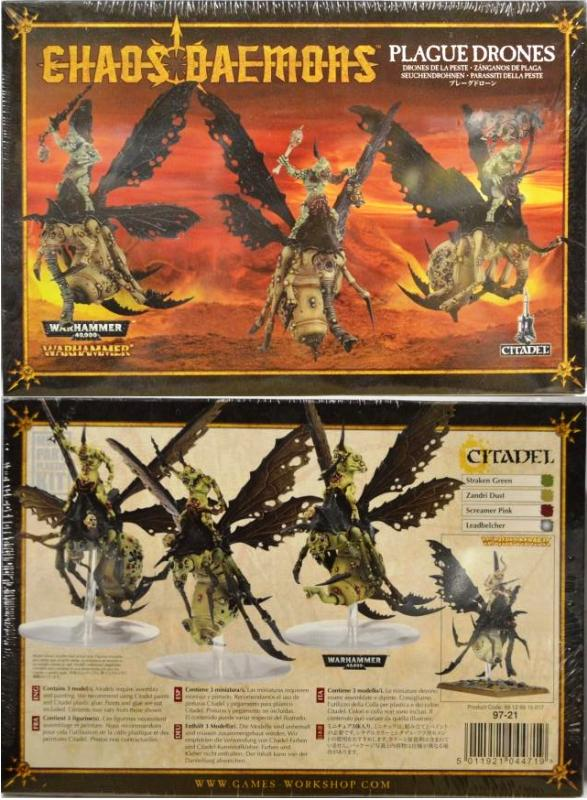 <P>This box contains 3 Plague Drones of Nurgle on Rot Flies.  Models are supplied unpainted and require assembly.</P>