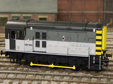 08740 has been modelled in the BR RailFreight triple grey livery as carried while based at Stratford.