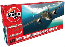 Airfix A06015 1/72nd North American B-25C/D Mitchell Medium Bomber Kit Number of Parts 166  Length 224mm  Wingspan 286mm