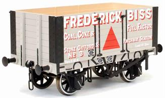 Highly detailed model of the first RCH standard design 7 plank open mineral wagon finished as Frederick Biss' wagon number 3. Mr Biss ran his business from the large GWR yard at Stoke Gifford, now the site of Bristol Parkway railway station, and the nearby station of Patchway.