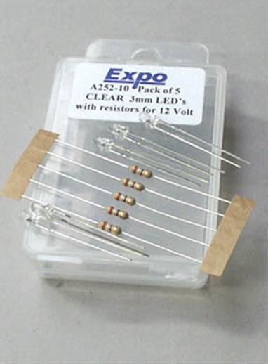 Clear (white) 3mm LED for 4-5volt operation, but supplied with correct resistor for 12volt operation.