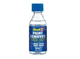 Paint Remover effortlessly removes already dried Revell Email (enamel) and Aqua Color (acrylic) paint without damaging the plastics. The use is very easy: Apply undiluted Paint Remover to the area to be treated using a paint brush or cotton swab. The paint begins to peel off after several minutes. Remove loose paint with a paint brush.