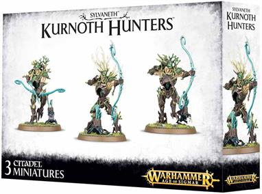 This multi-part plastic kit contains all the components necessary to assemble three Kurnoth Hunters, armed with a choice of greatswords, scythes or greatbows. One model can be assembled as a huntmaster, with a special head crest and weapon, and the kit contains seven additional spites.Supplied with three Citadel 50mm Round bases.