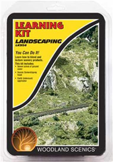 Landscaping Learning Kit teachesmodelers to blend and texture a complete landscape.There are enough landscaping materials included in this kit to landscape a 2 x 2 - foot surface.Products included are Earth, Undercoat, Scenic Cement, Fine Turf, Clump-Foliage and Coarse Turf.