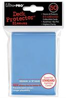 50 light blue sleeves, sized to fit MTG/Pokemon cards.