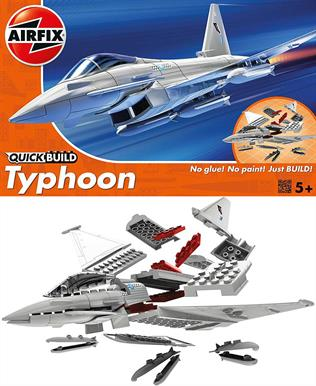 Airfix Quickbuild Eurofighter Typhoon Clip together Block Model J6002The Eurofighter Typhoon was built for endurance! Develop your collection and add this slick, swift and streamlined aircraft model. This model has a total of 27 parts with 3 additional parts for the stand. The height of the model when placed on the stand is 129 mm.