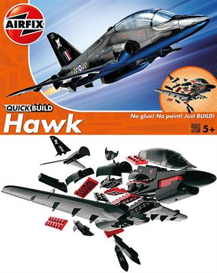 Airfix Quickbuild BAE Hawk Black Clip together Block Model J6003The BAe Hawk is a superior jet trainer aircraft! This will be a striking addition to your collection. The model sports an all-black exterior and you can add RAF symbol stickers once assembled. This model has a total of 26 parts with 3 additional parts for the stand. The height of the model when placed on the stand is 123 mm.