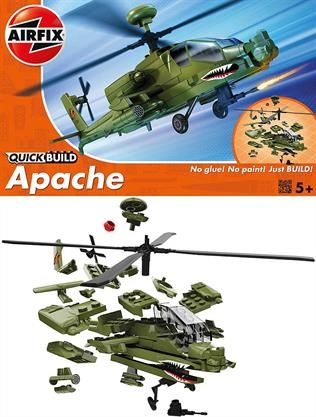 Airfix Quickbuild Apache Helicopter Clip together Block Model J6004Construct your very own Apache Helicopter! This model of the twin-engine attack helicopter features spinning four-blade main and tail rotors. In true army green, this piece is 129mm in height once placed on the stand. This model has a total of 37 parts with 3 additional parts for the stand.