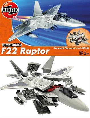 Airfix Quickbuild F22 Raptor Clip together Block Model J6005The F22 Raptor is a superior fighter aeroplane! With trapezoid shaped wings, this plane is able to maintain control even at supersonic speeds. Add this outstanding aircraft to your collection today and glide your raptor model through the air. This model has a total of 24 parts with 3 additional parts for the stand. The height of the model when placed on the stand is 108 mm.